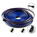 LitaElek 10m 4 Pin LED Strip Light Connector RGB Connector RGB LED Extension Cable Ribbon Cable for RGB 5050 3528 LED Light Strip w/ 2x Male 4 Pin Plugs (10m/33ft)