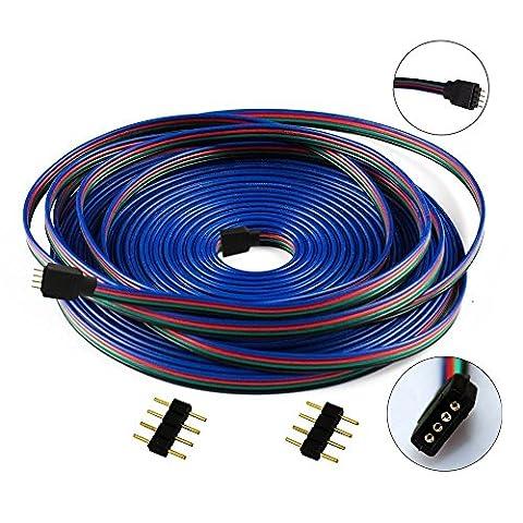 LitaElek 4-polig 10m RGB Verlängerungskabel Linie LED Verbinder Verteiler Kabel für SMD 5050 3528 2835 RGB Flexibel LED Strip LED Streifen Licht,für 4 polig LED TV Hintergrundbeleuchtung SET, und für 4 polig OSRAM Flexible RGB LED-Streifen (10m/33ft)
