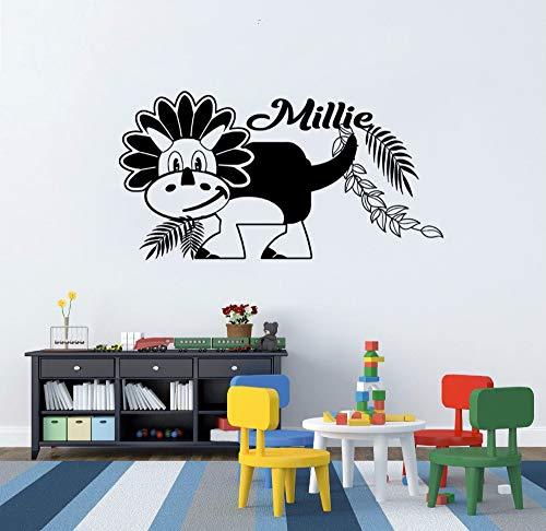Crjzty Personalied Nome Decalcomania da Muro Dinosaur Wall Sticker Nome Personalizzato Ragazzi Playroom Decorazione110x57cm