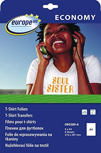 Preisvergleich Produktbild europe100 090389-6 T-Shirt Transferfolien für helle Textilien (A4, 6 Blatt) weiß