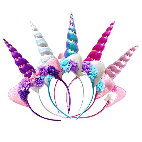 THEE 5pcs Tocado de Unicorn Diadema de Pelo Disfraz Decorativo