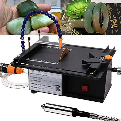 SEAAN Máquina de tallado de jade multifunción Molino de mesa Pequeña máquina de corte Micro Mesa Sierra Molinillo de joyería Mini taladro rotativo con conjunto de accesorios