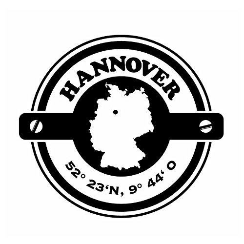 Wadeco Koordinaten rund Hannover Wandtattoo Wandsticker Wandaufkleber 35 Farben verschiedene Größen, 42cm x 38cm, weiß