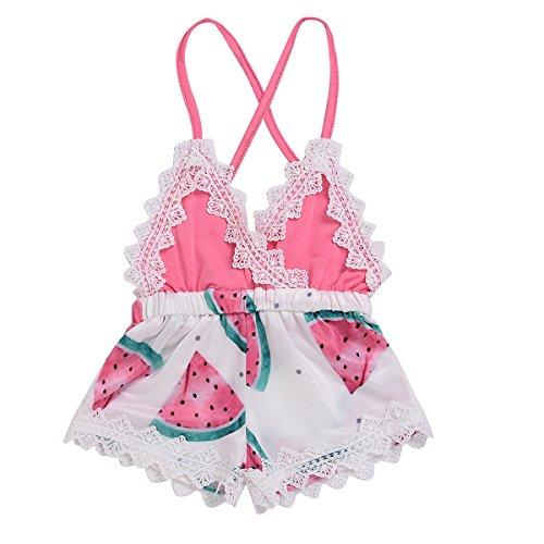 42ab6db559787 0-4T Baby Girl Shorts Cute Watermelon Print Lace Trim Pagliaccetto Backless  Pagliaccetto (Color
