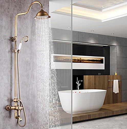 gen Duschsysteme Regen Duschkopf + Handbrause Spray Vintage Wall Mounted Dusche Combo Full Body Coverage Einfach zu reinigen und zu installieren (Regen Duschkopf Badewanne Combo)