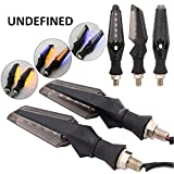 #9: UNIQSTUFF 4 PC Motorcycle Bike 12 Led Turn Signal Indicator Light Dual Color Blue And Amber (Free 1 Pair Parking Led White) For Bajaj Pulsar RS200