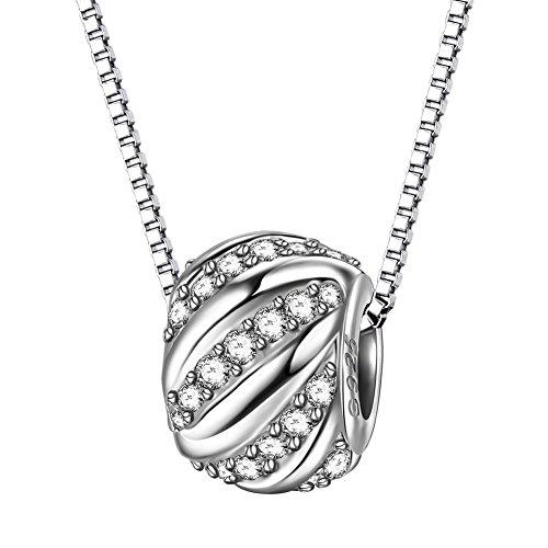 J.Endéar Kette Damen Silber 925 mit glitzerndem Bead Anhänger zarte kleine Halskette Allergiefrei Schmuck