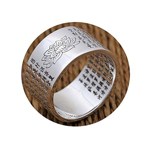 LOUMVE Herren Ring Retro S925 Sterling Silber Lotus 12MM Breite Buddhistischen Schriften Silberringe Herrenringe Größe 68 (21.6)