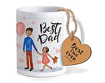 TIED RIBBONS Fathers day special gifts | Gift for Father | Gift for Dad | Printed Coffee Mug with Wooden Tag