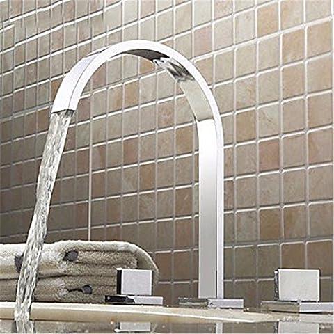 STAZSX Caractéristique du cuivre Robinet lavabo 3 trous carré trois chaudes et robinet d'eau froide du bassin, appuyez sur