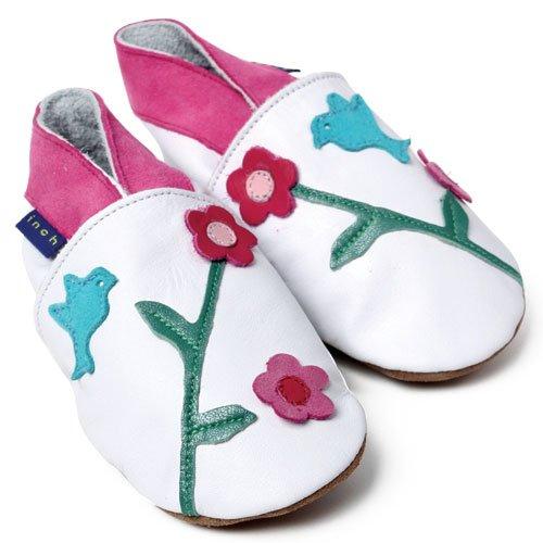 Inch Blue - 0846 XL - Chaussures Bébé Souples - Oriental Bird - Blanc - T 22-23 cm - 18-24 mois Blanc