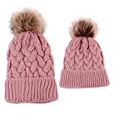 2PCS Mother&Baby Hat Family Matching Cap Winter Warmer Knit Wool Beanie Ski Cap (Pink)