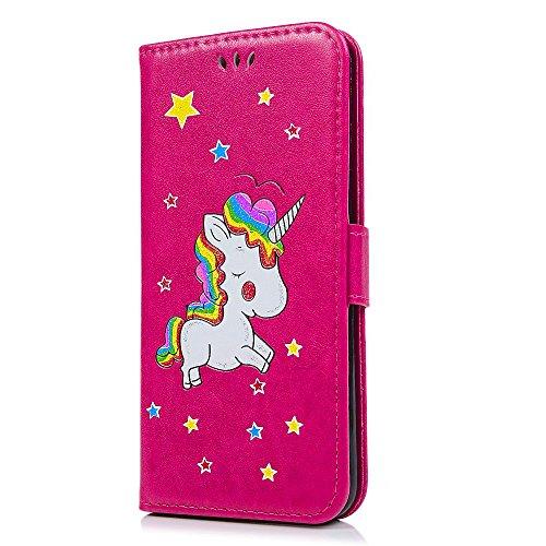 Cover iPhone X Pelle Unicorno, Unicorno Portachiavi Peluche, E-Unicorn Cover Custodia Apple iPhone X Pelle Unicorno Modello Brillantini Glitter Portafoglio Blu PU + TPU Silicone Morbido Bumper Copertu Rosso
