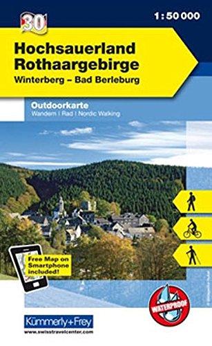 Preisvergleich Produktbild Deutschland Outdoorkarte 30 Hochsauerland Rothaargebirge 1 : 50.000: Winterberg-Bad Berleburg: Wanderwege, Radwanderwege, Nordic Walking, Skilanglauf (Kümmerly+Frey Outdoorkarten Deutschland)