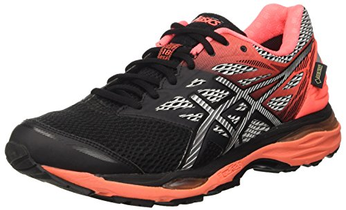Asics Gel-cumulus 18 G-tx, Damen Trainingsschuhe, Mehrfarbig (Black/Silver/Flash Coral), 38 EU (Gel Asics Running Schuhe Flash)