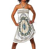H112 Damen Sommer Aztec Bandeau Bunt Tuch Kleid Tuchkleid Strandkleid Neckholder, Farben:F-026 Weiß;Größen:Einheitsgröße