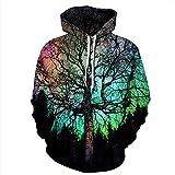 Leon's shop 3D Hoodie,Digitaldruckpaar mit Taschen-Baseball-Uniform Aurora-Bäumen, L/XL
