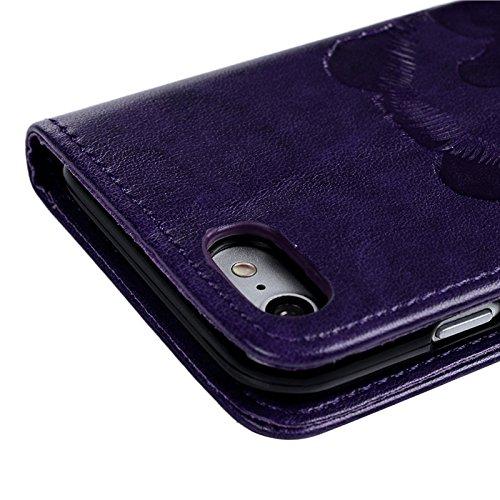 iPhone 7 Hülle, Yokata PU Leder Flip Kawaii Panda Motiv Case Weich TPU Silikon Backcover mit Credit Card Slots Brieftasche Tasche + 1 x Kapazitive Feder Lila