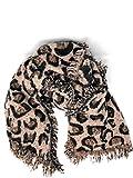 citySteil Damenschal warm und groß Leoprint mit Wolle 195x68cm (Altrosa)