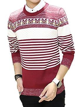 WTUS Crew Knit,Suéter de Moda Casuales para Hombre,Rojo