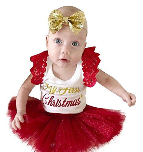 ✽ZEZKT-Baby✽Neugeborenes Baby Tutu Kleid Weihnachten Outfits Kleidung Spielanzug Bodysuit Prinzessin Fancy Kostüm Kleinkind Party oder photoshoot Hochzeit Babybekleidung (Rot, 3 Monate)