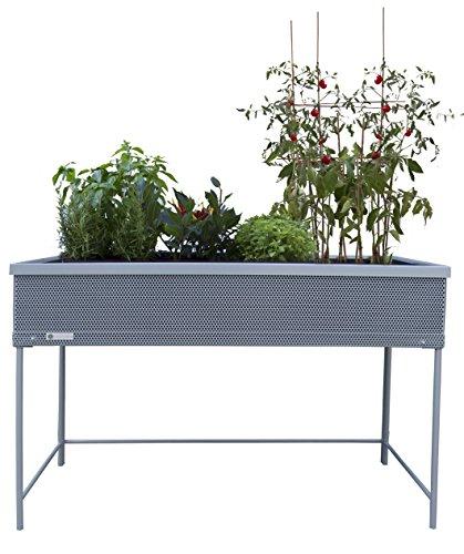 Botanyland Green Passion Metallhochbeet. Hochwertiges Sortiment, Pflanzbeet, Kräuterbeet, Gemüsebeet für Balkon & Terrasse 120x56x80 cm.Grau
