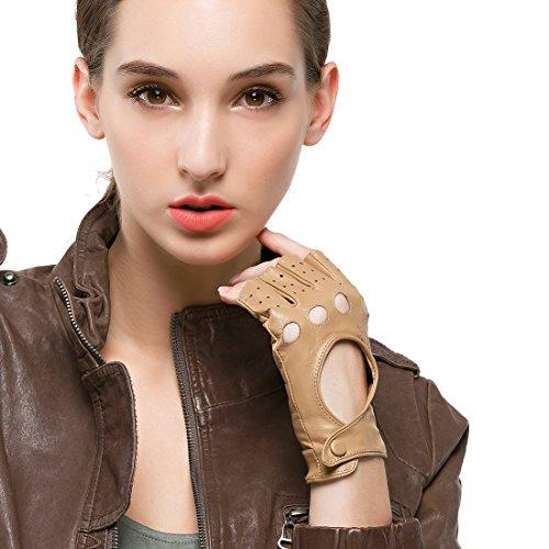 Nappaglo Damen klassisch Halbfinger Lederhandschuhe für fahren Fingerlose Lammfell Fitness Outdoor ungefüttert Handschuhe (M (Umfang der Handfläche:17.8-19.0cm), Kamelhaarfarbee)