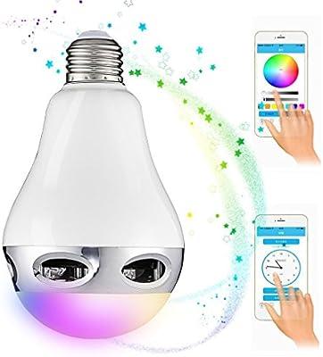 Bluetooth Bombilla LED, GreensKon lInalámbrica Bluetooth 4.0 Altavoz E27 Bombillas 16 Miliones de Colores luz Regulable con App Gratuita Controlada Compartible iPhone iPad y Smartphones Android