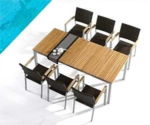 Table et chaises jardin teck et poly-rotin beaujolais