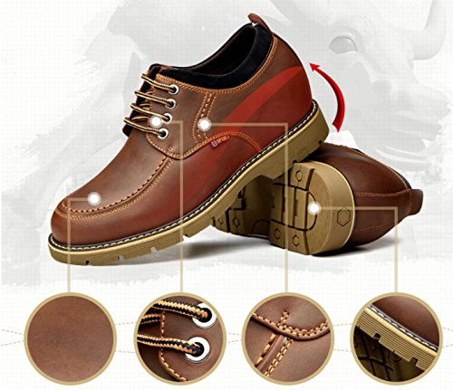 GRRONG Four Seasons Four Seasons Augmenter Chaussures 10cm Loisirs Chaussettes Respirantes 8cm DarkBrown