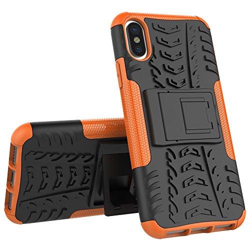 Apple iPhone X Coque, Voguecase TPU hybride Skidproof Béquille Rigide Plastique Shell Housse Coque Étui Case Cover(soutien-Blanc) de Gratuit stylet l'écran aléatoire universelle soutien-Orange