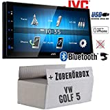 VW Golf 5 V - Autoradio Radio JVC KW-M24BT - 2-DIN Bluetooth MP3 USB Autoradio TFT Touch - Einbauzubehör - Einbauset