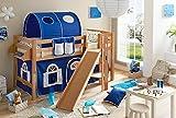 Hochbett mit Rutsche Podestbett Tino Buche massiv Natur teilbar mit Farbauswahl, Vorhangstoff:Blau Weiss