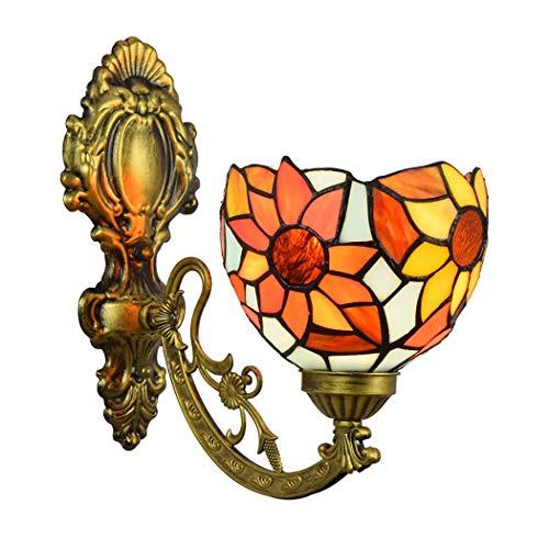 Tiffany-Art-Wand-licht-orange Europäischer Sonnen-Blumen-Kunst-glasschirm Mit Antiker Eisenkunstunterseite Für Café Hotel-Restaurant Beleuchtung, E27,6inch,220v -
