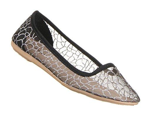 Damen Schuhe Ballerinas transparentes Tüll Halbschuhe Slipper elastische Sohle , Weitere Farben: schwarz silber gold rosa, Weitere Größen: 36 37 38 39 40 41 Schwarz