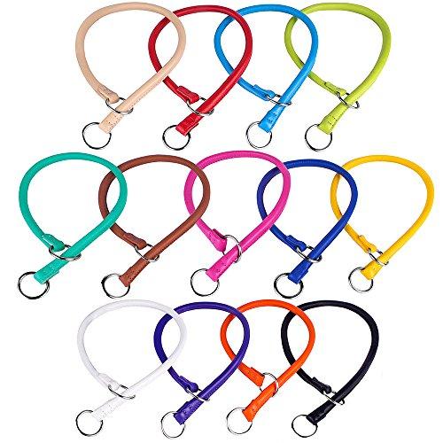 Gepolsterte Slip (CollarDirect Training Choke Halsband, strapazierfähigem Gerolltes Leder Slip Halsbänder für Große Hunde Medium Kleiner Welpe Rund Weich Gepolstert, Size L2, Violett)