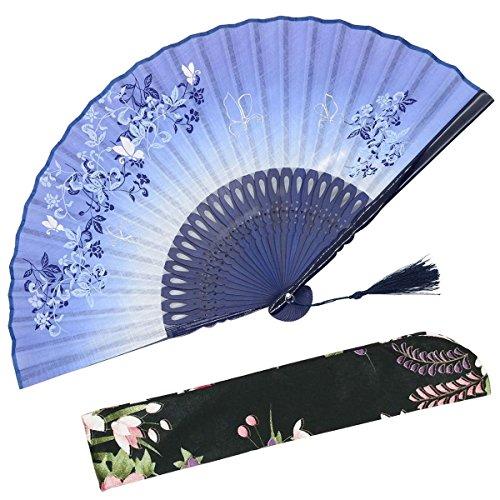 OMyTea 'Morning Glory' Faltfächer für Frauen, japanischer/chinesischer Vintage-Retro-Stil, mit einem Stoffbeutel zum Schutz blau - Nylon-laternen Japanisch