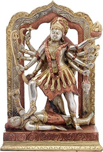 Exotic India Göttin Kali Statue, Kupfer/Silber, 9,9 x 19,7 x 29,5 cm