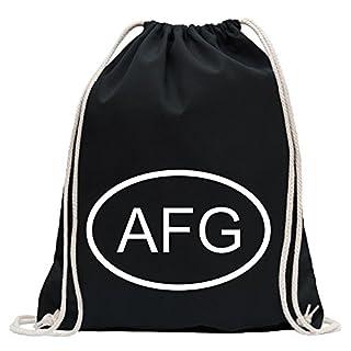 KIWISTAR - Afghanistan AFG Turnbeutel Fun Rucksack Sport Beutel Gymsack Baumwolle mit Ziehgurt