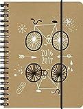 Brunnen 107297147 Schülerkalender/Schüler-Tagebuch (2 Seiten = 1 Woche, 12x16cm (A6), Einband Recyclingleder Bike, Kalendarium 2016/2017)
