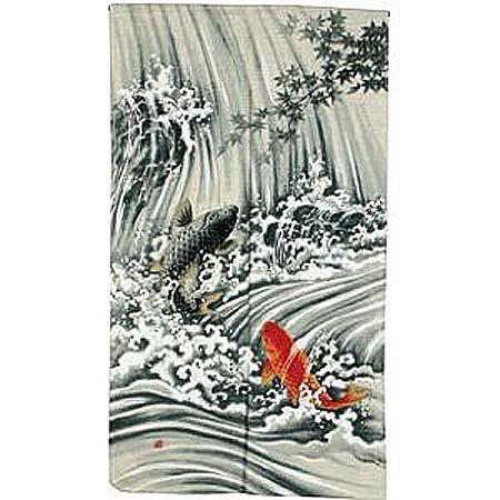 New 81,3x 149,9cm Japanische Noren Koi in Wasserfall (Noren Koi)