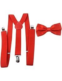 HBF mehrfarbig elastisch Hosenträger Y-Form Länge für Damen und Herren mit den starken Clips Playshoes und Fliege in verschiedenen Designs