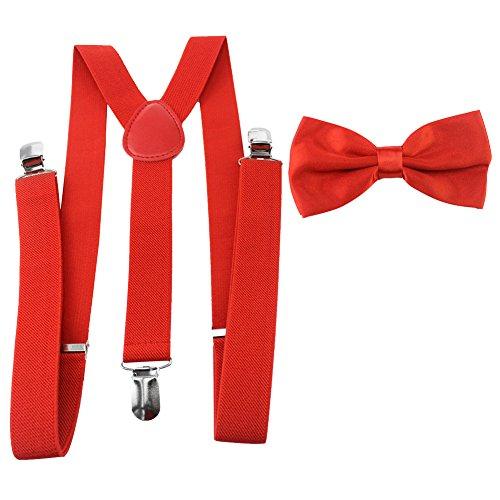 Rosa Hemd, Blaue Krawatte (HBF mehrfarbig elastisch Hosenträger Y-Form Länge für Damen und Herren mit den starken Clips Playshoes und Halsschleife Fliege in verschiedenen Designs)