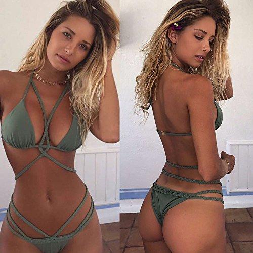 Donne Tessere Costume da Bagno, Kword Push-Up Imbottita Reggiseno Spiaggia Costumi da Bagno Bikini Set Verde