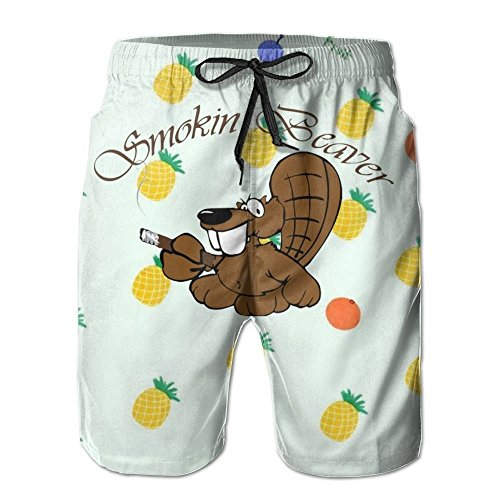 PLZIK short Beaver Performance Beach Pants Adult Swimming Short Fleece SweatpantsCool