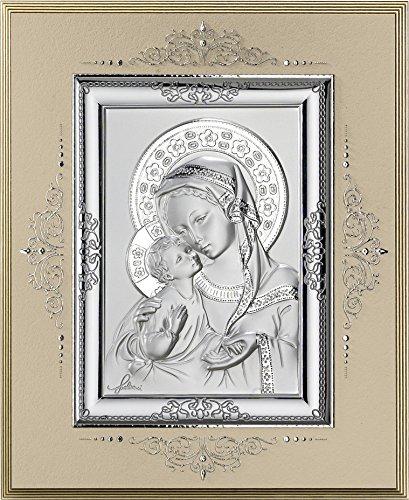 Ferrari & Arrighetti Icono Virgen María con el Niño Jesús de Plata 925 y Madera - 17 x 14 cm