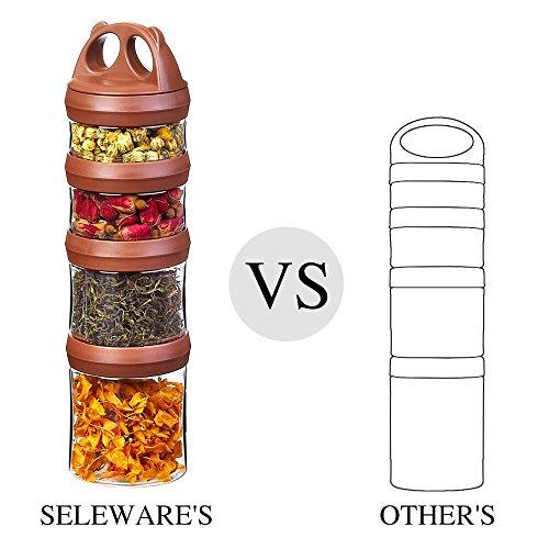 Tritan Frischhaltedosen Snack Aufbewahrungsbox Vorratsdosen Set, Twist lock 4-teilig Stapelbar, 100% BPA-Frei, Luftdicht, Auslaufsicher, Geeignet für Mikrowelle, Gefrierschrank und Spülmaschine (0,91 Liter, Braun)