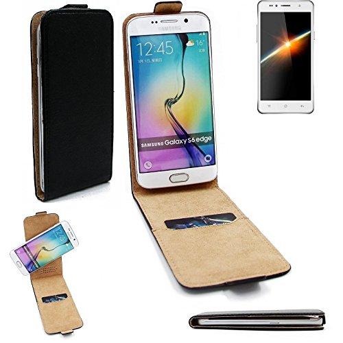 K-S-Trade® Für Siswoo C50 Longbow Flipstyle Schutz Hülle 360° Smartphone Tasche, Schwarz, Case Flip Cover Für Siswoo C50 Longbow