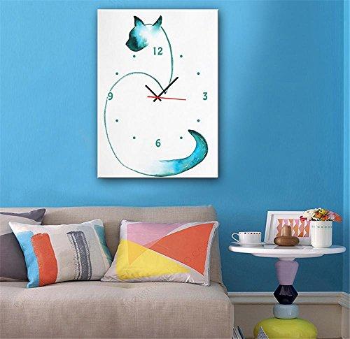 xiuxiandianju-creative-abstract-cat-avec-peintures-horloge-peinture-decorative-giclee-toiles-framele