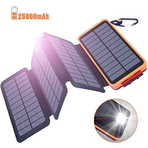 Powerbank Solar Externer Akku 25000mAh Solar Ladegerät mit 4 Solar Panels Dual USB 2.1A, Notfall-Energie mit LED-Licht & Haken für iPhone,Samsung, iPad,und andere Smartphones/Handys, Wasserdicht